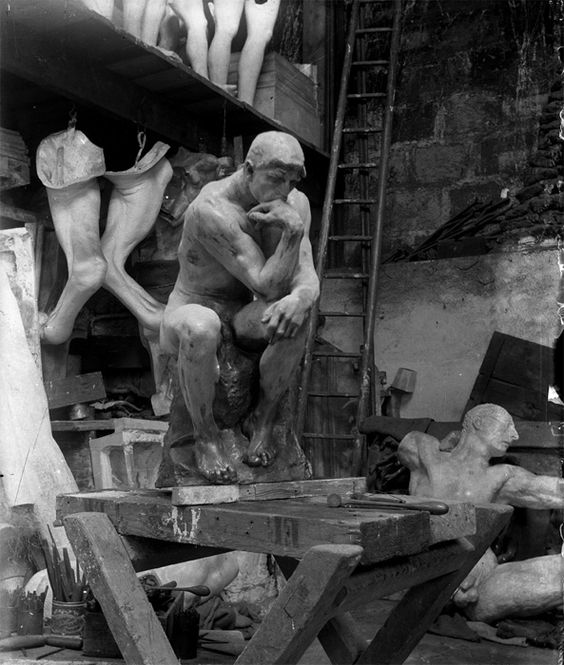 Rodin's The Thinker in the Sculptor's Workshop, 1900. | Photography: Unknown