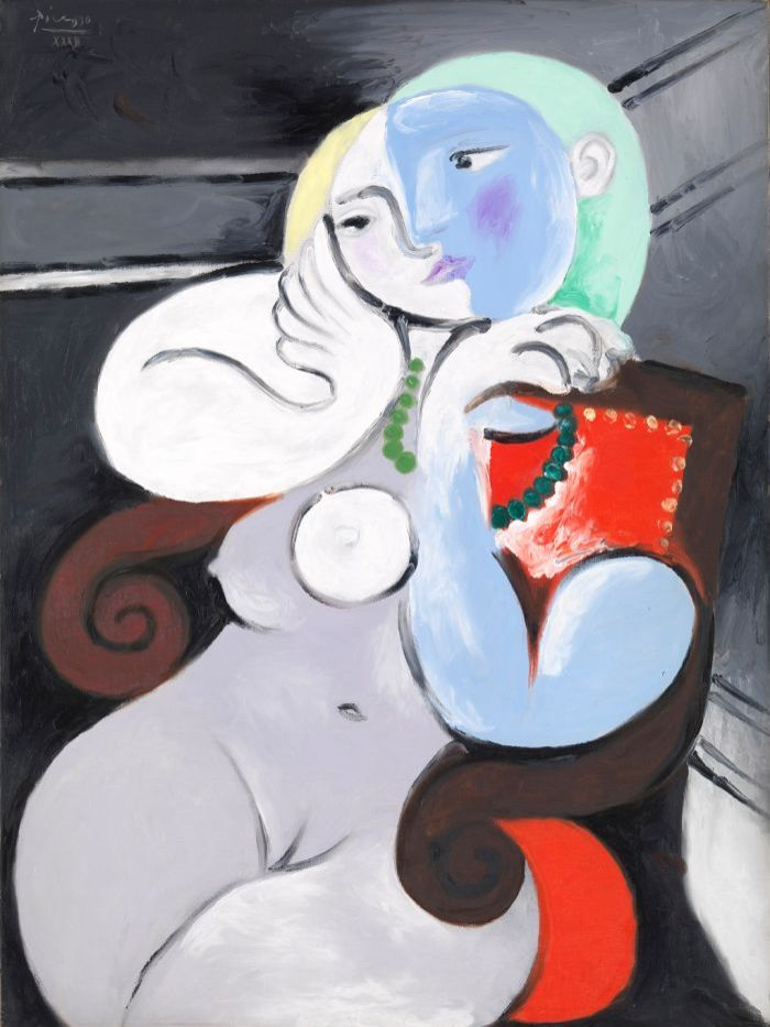 The beautiful moves - in curves, in life and art. Even the arms of the chair are heightened in exaggeration, echoing the sensuous curves of her body. The face can be viewed as either a double or a metaphoric image: the right side can be seen as the face of a lover in profile, kissing her on the lips. All the right curves, followed by all the right moves by Picasso himself. He was a notorious womanizer. The man had game. -tM
