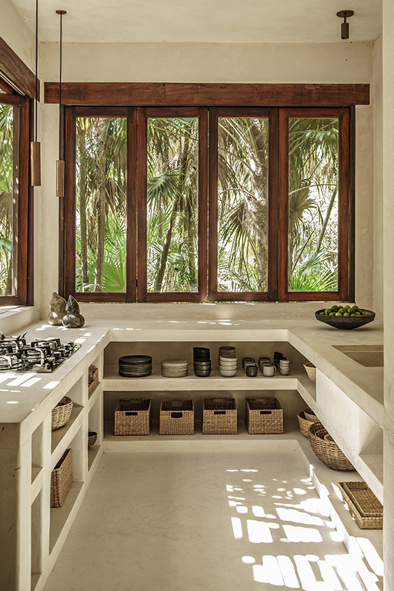 Kitchen - in the trees? Why not? More and more resorts have taken to heights reminiscent of our youth. Trees are always a relief, a way to escape people.This kitchen is as peaceful as the forest it lives in. There exists a unique poetic space, nestled amongst the trees, that cannot be found anywhere else.I always appreciate design working in harmony with nature. -tM