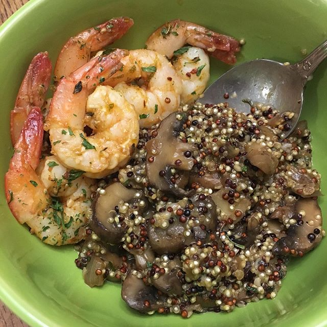 Tonight's dinner: Chipotle-Lime Shrimp with Mushrooms and Quinoa. 😋🍤🍴 ____________________  I never understood how someone could forget to eat until I started forgetting to eat. 😳 I've worked from home for over a year now, and food has been my biggest struggle. You'd think that I'd eat most of everything that was footsteps away, but lots of days I was only eating once a day at MAYBE 7pm-ish. My updated blog is going to serve as my accountability journal to anybody in my shoes who struggles with being a forgetful/ hungry workaholic who doesn't know how to get ahead of their own curve. I'm getting better, but I'm STILL working on it (I missed lunch today,🥴). What did you eat today?