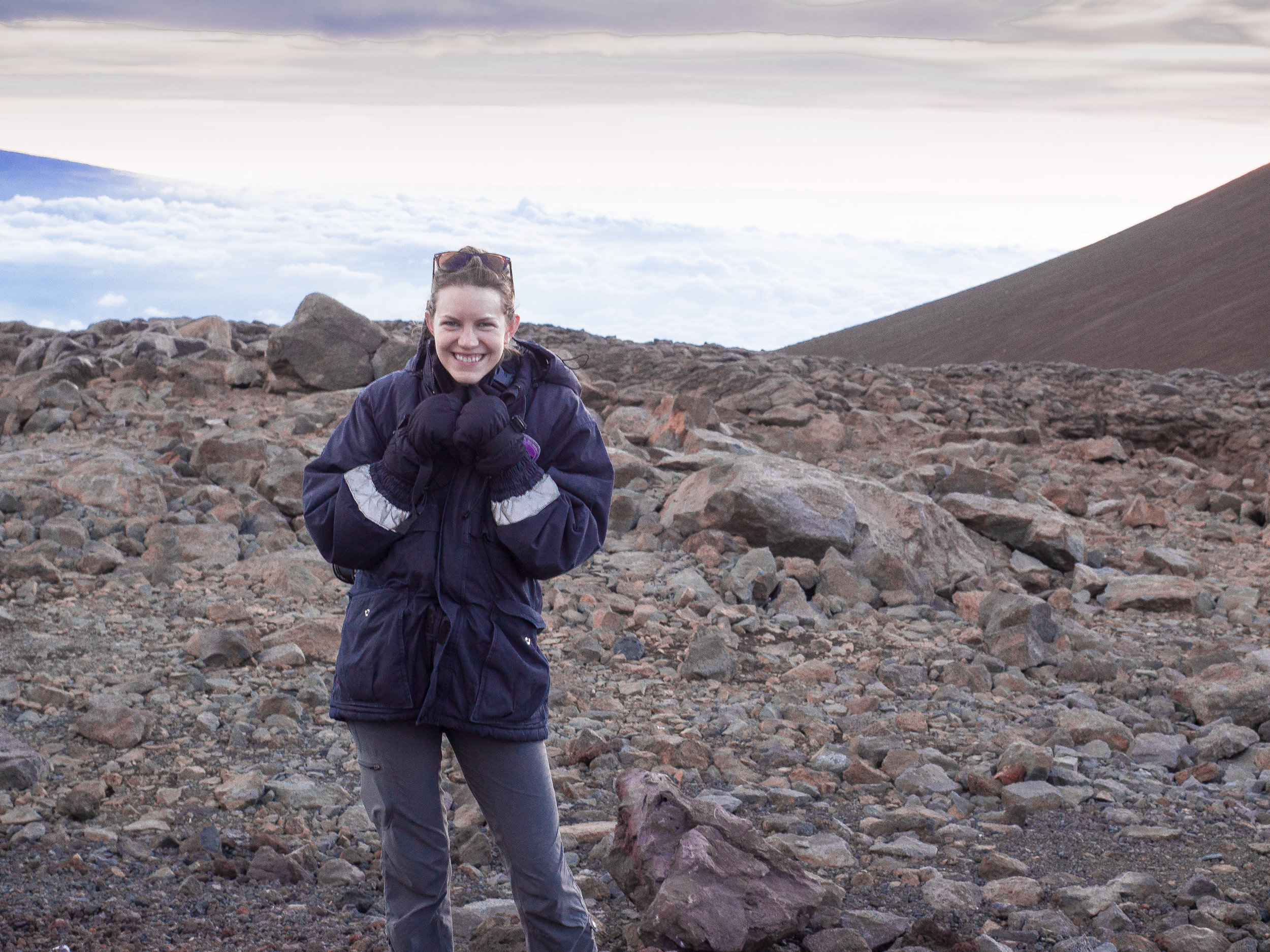 At the summit!!Do I look cold? It was freezing!! But so beautiful!