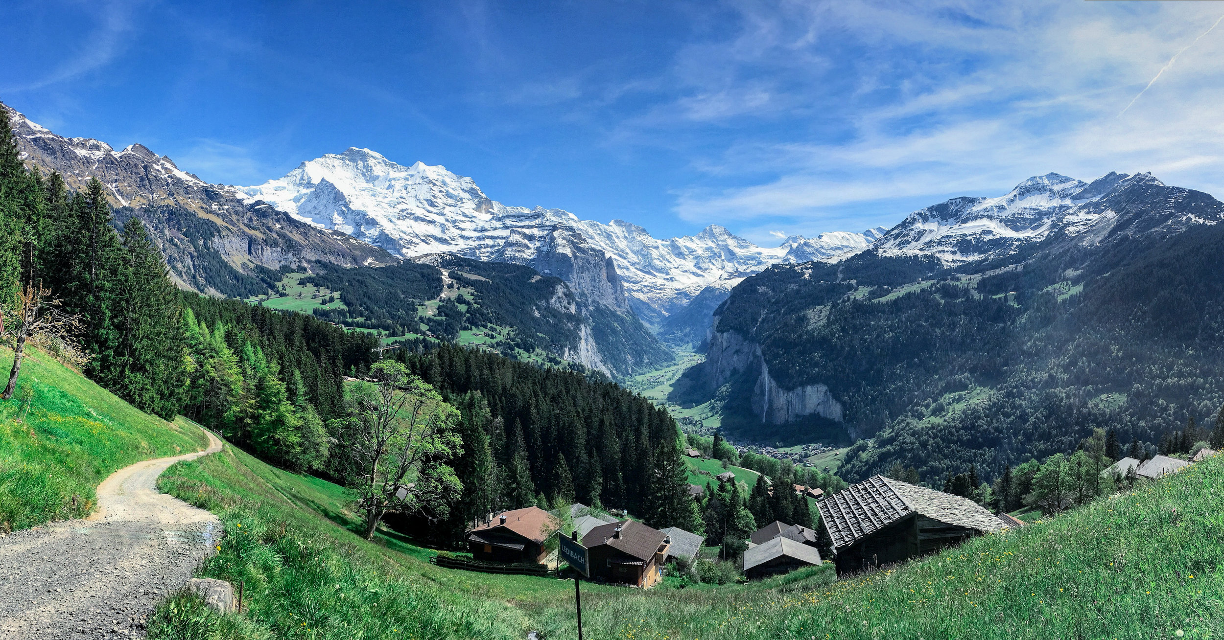 View looking back to Lauterbrunnen, from Wengen