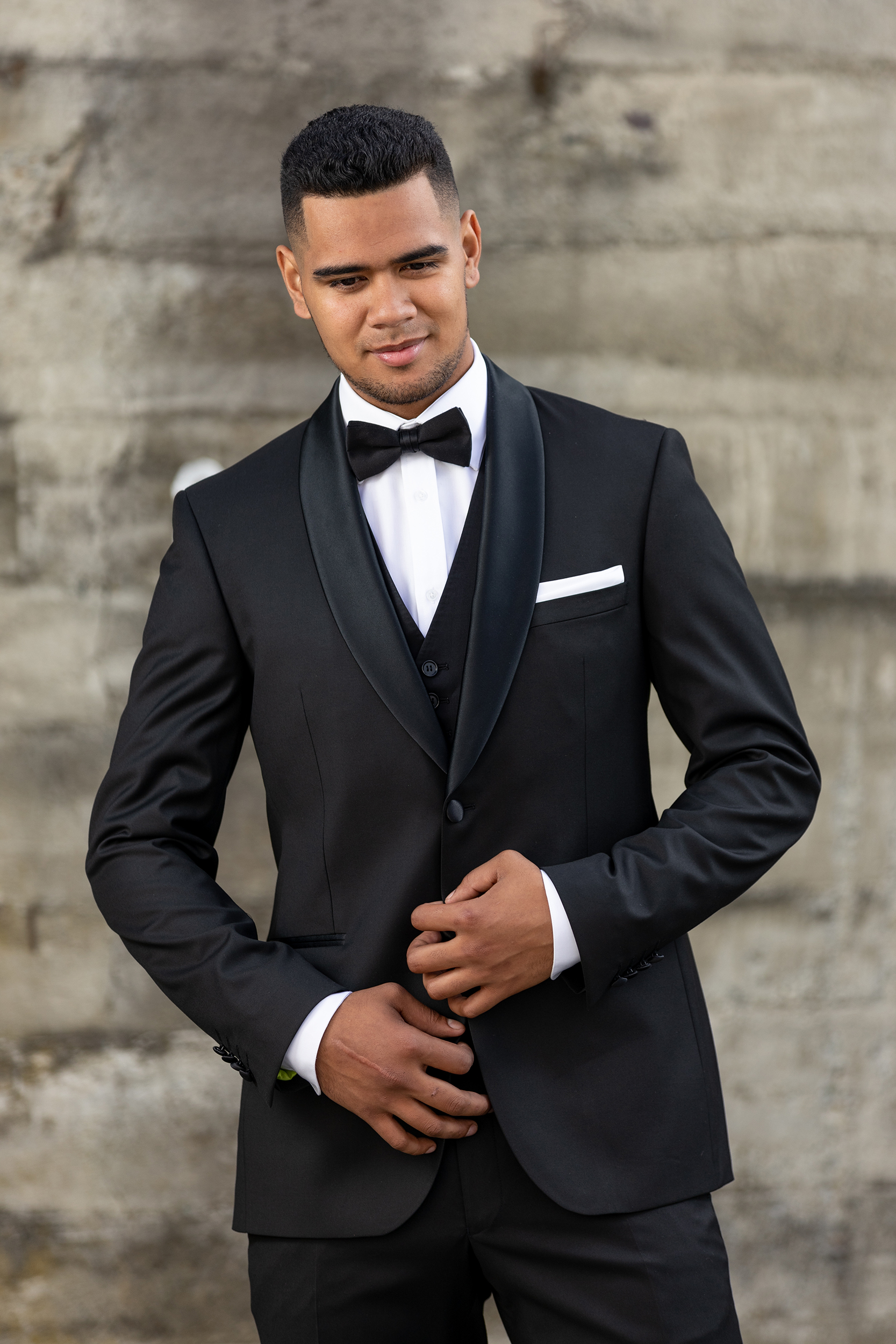 Joe—Black - Slim Fit- Black- Shawl collar with satin finish- 2 button suit jacket- Tapered suit trouserHire price $120 NZDReg: 84—144Short: 104 & 116Tall: 92—120