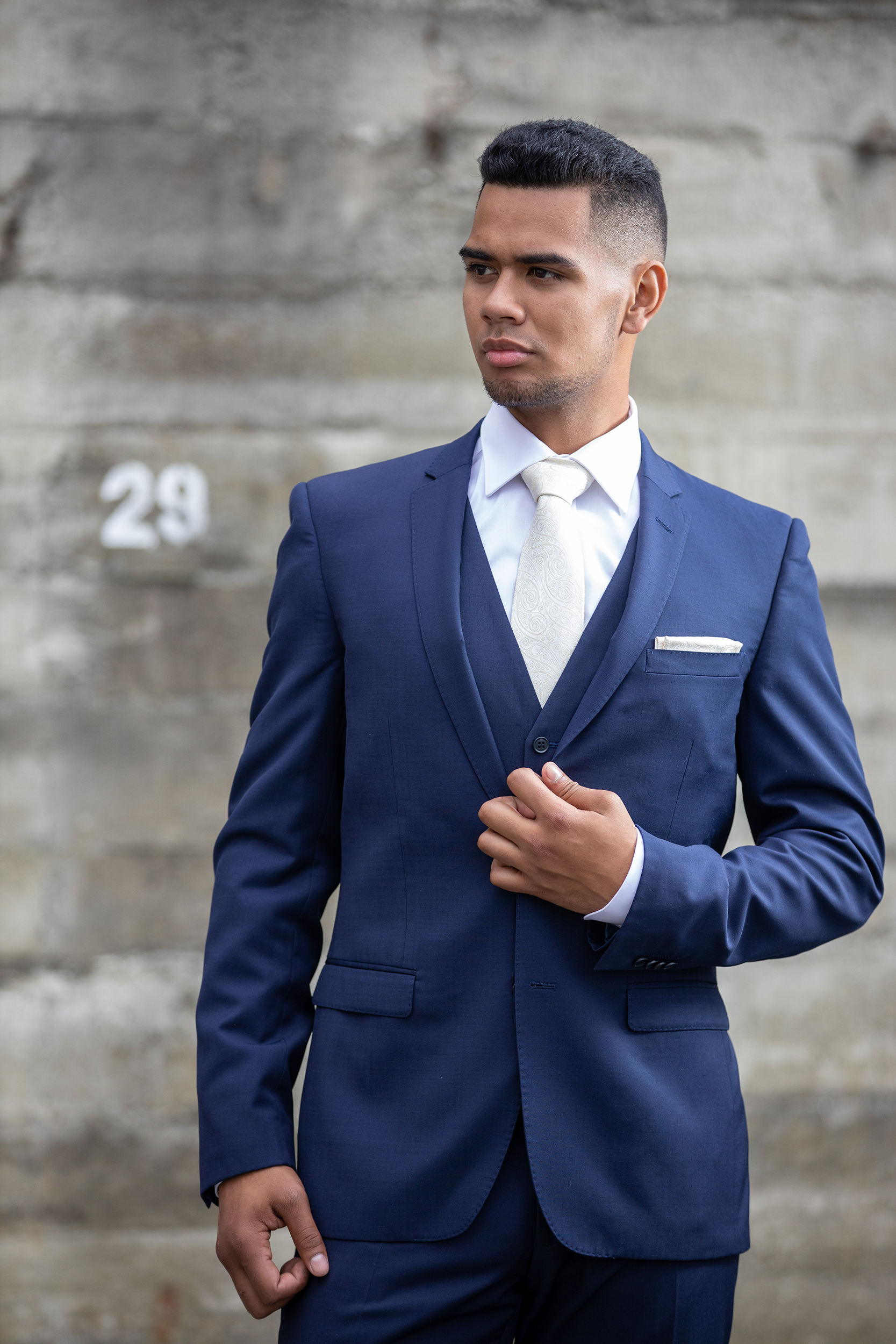 Navy - Slim Fit- Notch lapel- 2 button suit jacket- Tapered suit trouserHire price $120 NZDReg: 88—136Short: 88—124Tall: 88—120