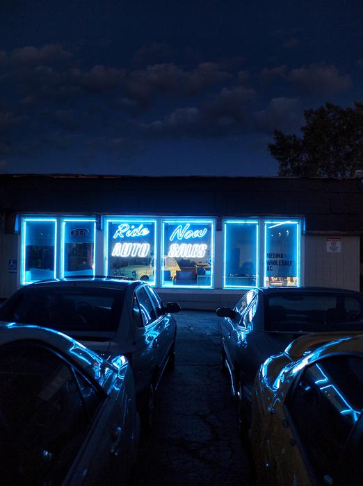 """Adam Bernard-  """"Ride Now Auto Sales; Medina, Ohio""""   (20""""x16"""") -$1000"""