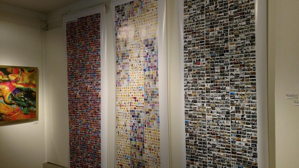 Kristen M. Watson, three scrolls from her series, TMI: Digital Immigrant Prints.