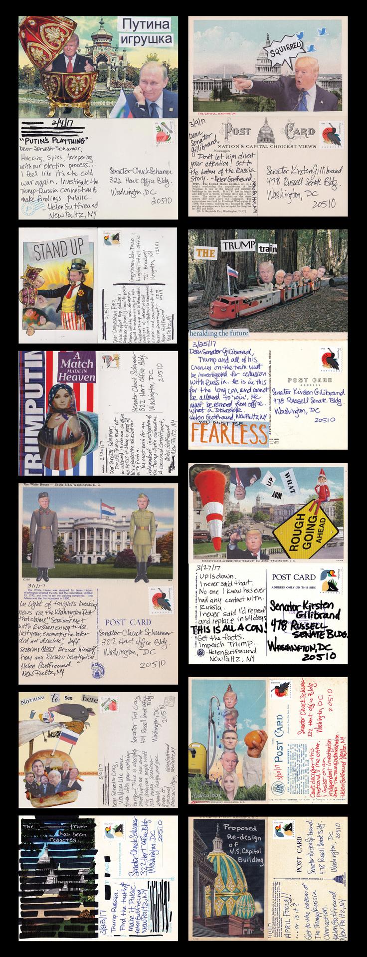 "Helen Gutfreund -   ""Postcards From The Resistance: Russia""   (30""x11.5"") -  $250"