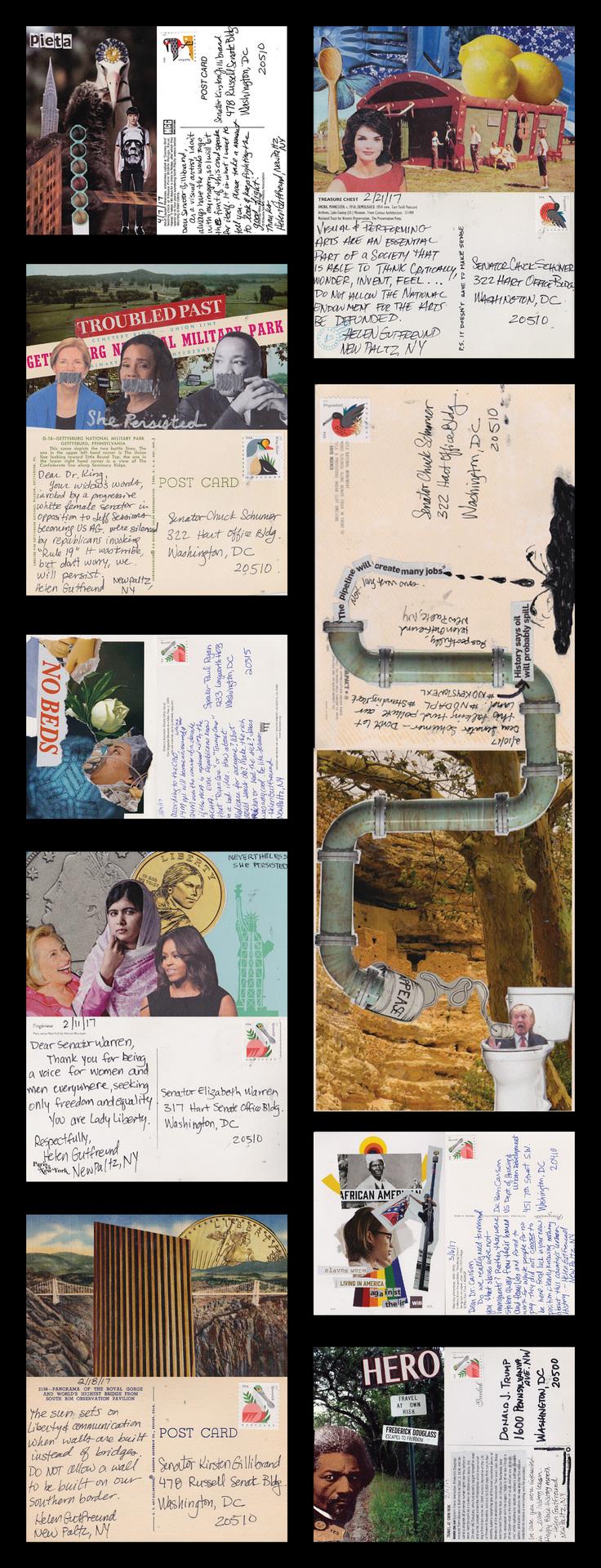 "Helen Gutfreund -   ""Postcards From The Resistance: Stand Up""   (30""x11.5"") -  $250"