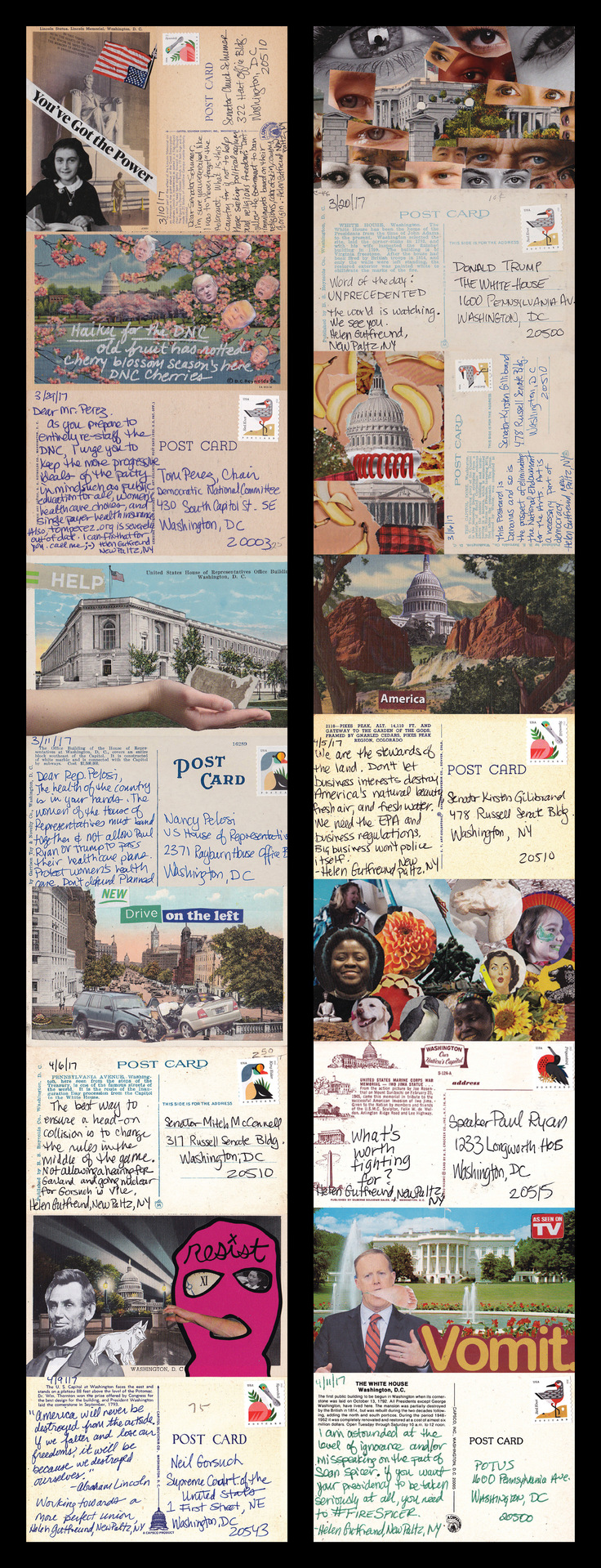 "Helen Gutfreund -   ""Postcards From The Resistance: Washington""   (30""x11.5"") -  $250"