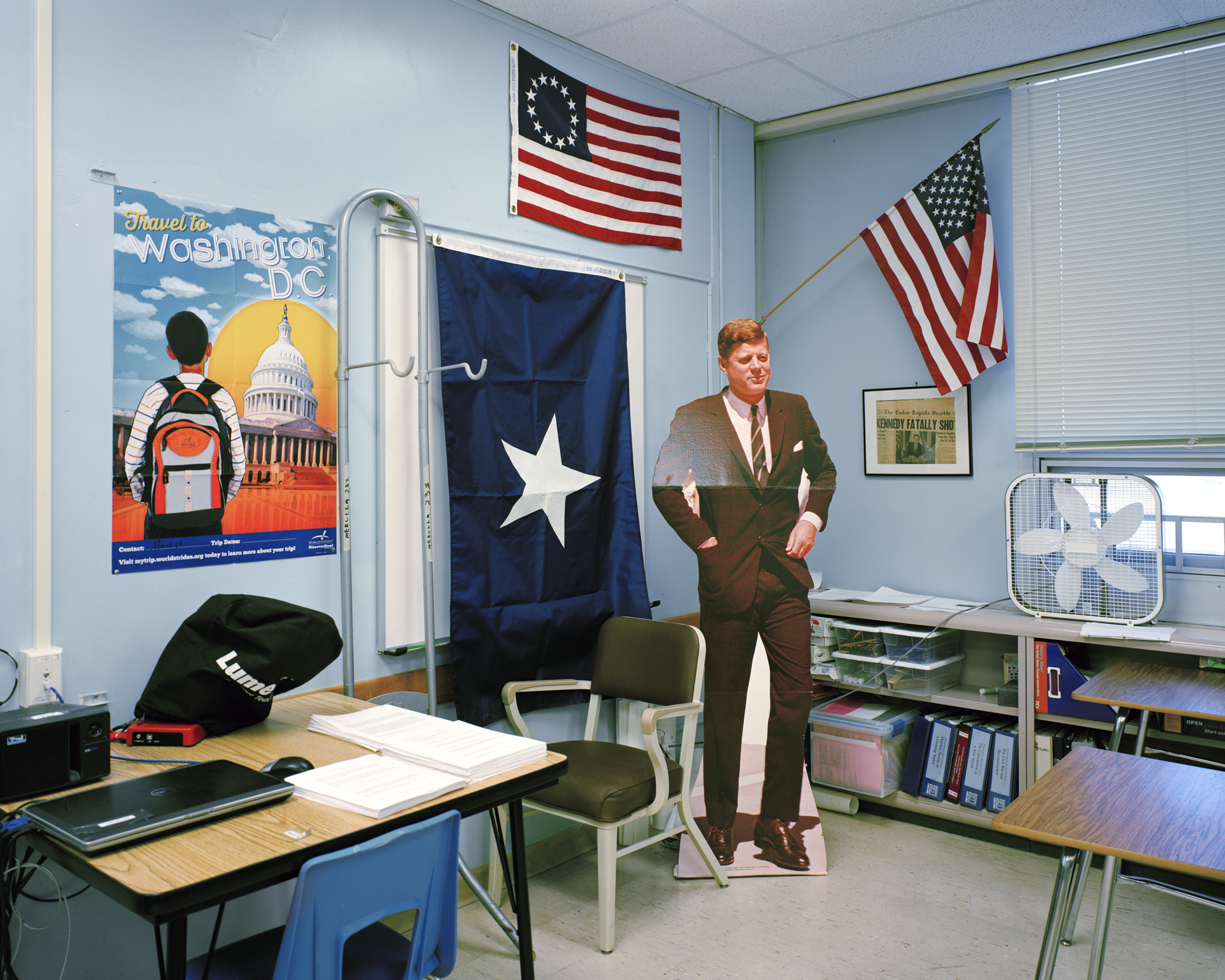 "Lindsay Godin -   ""JFK and the Bonnie Blue Flag ""   from the series  History Is Written By The Winner  (29""x25"") -  $275"