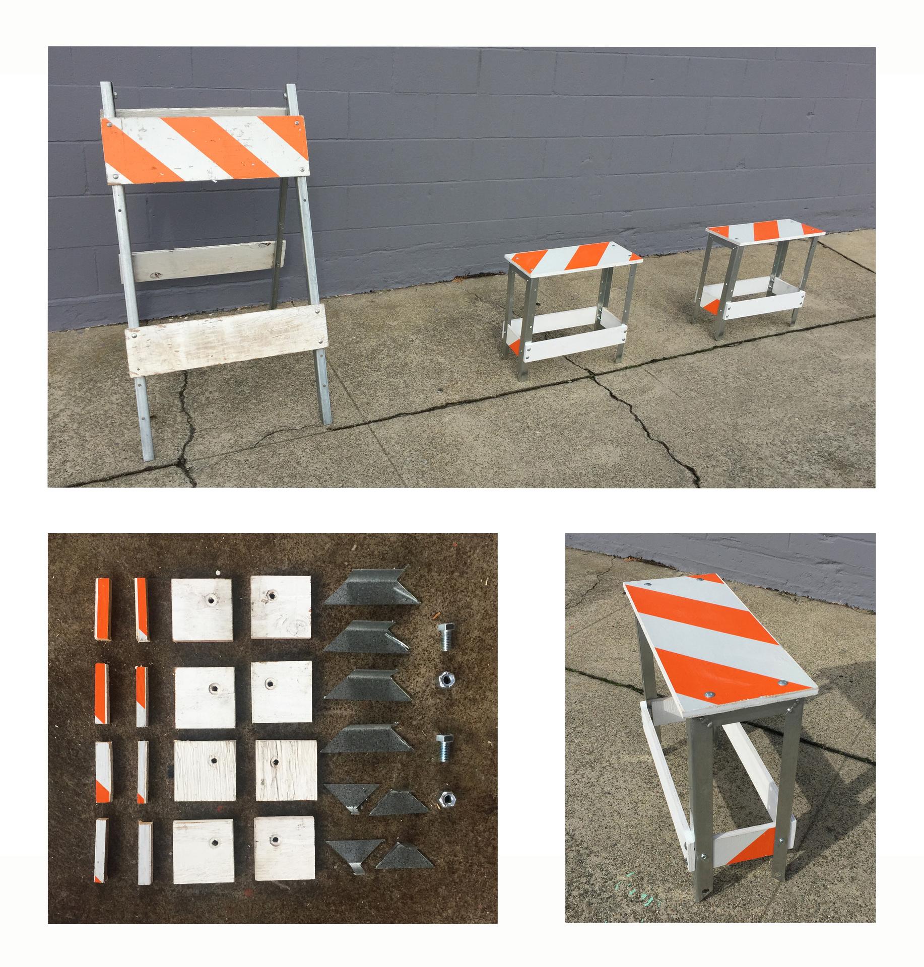 "Michael E. Goldman -   ""Street Barricade to Benches Transformation""   (Barricade=24""x42""x36"") (Bench=8""x8""x18"") - $1125/4 pcs Total   Single Bench $550"