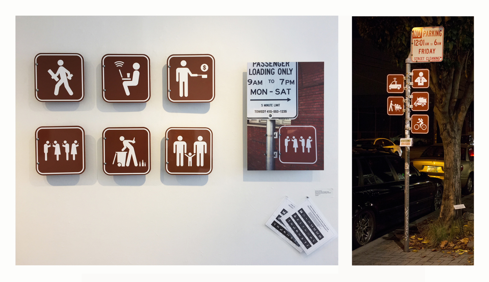 "Michael E. Goldman -   ""Urban Pictograms""   (10""x10"") -  $1025/7 pcs Total   Single Sign $225"