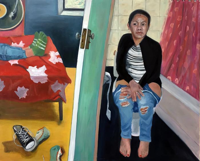 "Jessica Alazraki,  Open Door   Oil on Canvas, (48"" x 60"")"