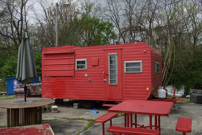 "Gary Beeber-   "" Little Red Camper, Fairborn, Ohio ""   (13.333""x 20"") -  $1250"
