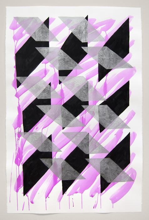 "Kate Kosek   - "" And I Saw My Reflection (Magenta 1) ""   (31""x 44.5"") -  $2100"