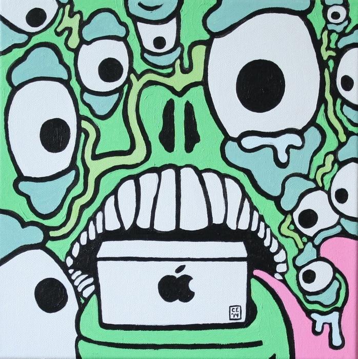 "Chris Ernst -  ""Propaganda""  (12""x 12"") - $95"