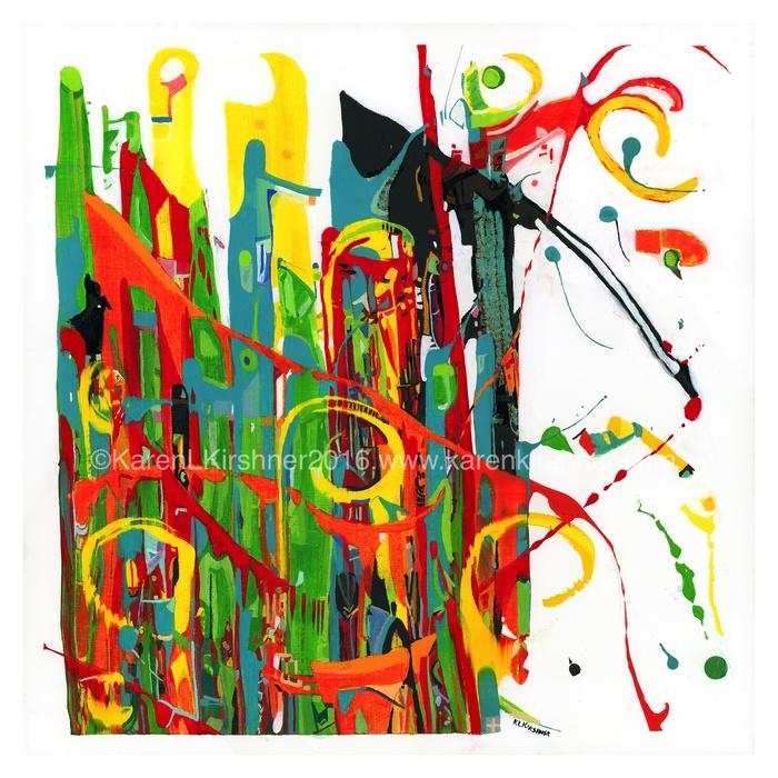 "Karen L. Krishner -  ""Did I Channel Calder? (Rhapsody)""  (25"" x 25"") - $900"