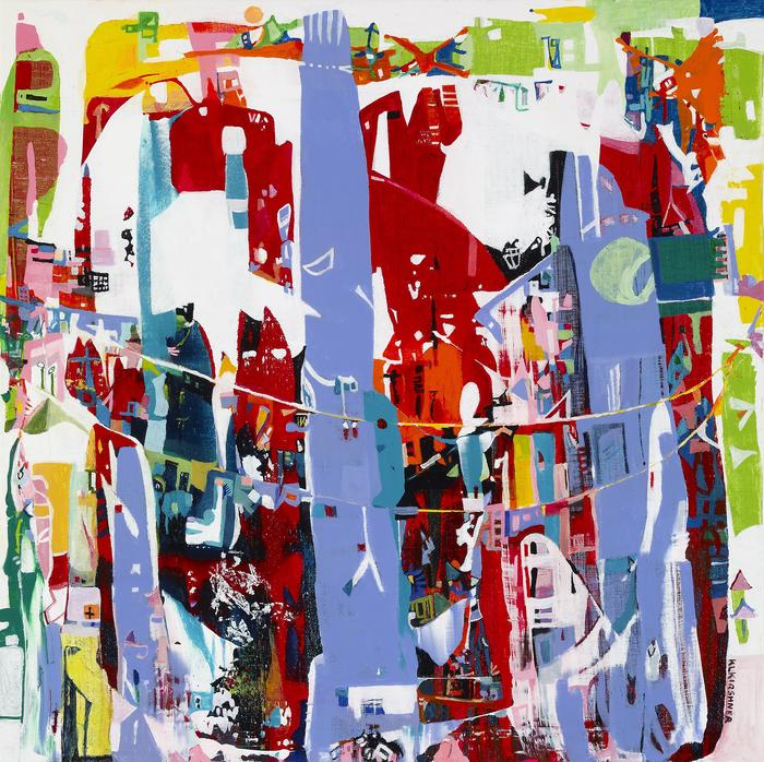 "Karen L. Krishner -  ""Fantastic World""  (25"" x 25"") - $1200"
