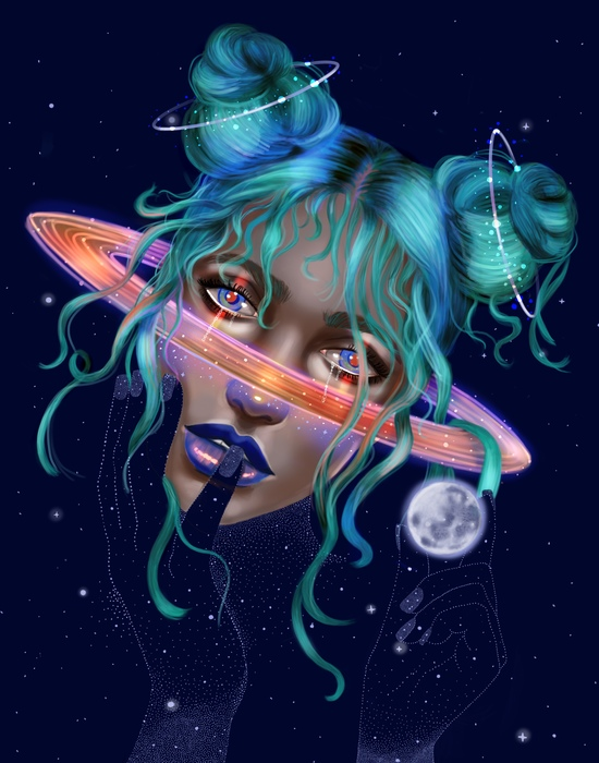 """Stephanie Sanchez -  """"Saturn  """" (15.75"""" x 18.5"""") - $260"""
