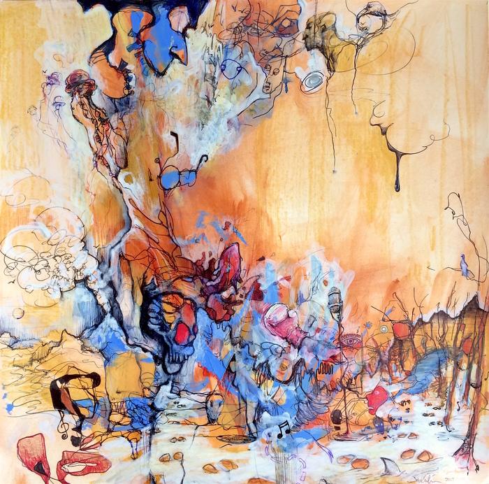 """John Catania -  """" Cryptic""""  (14"""" x 14"""")- $700"""