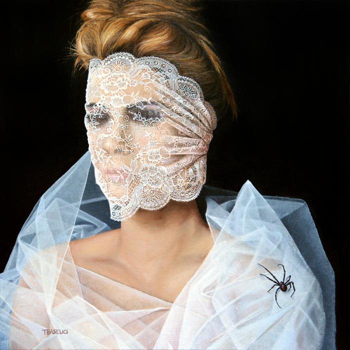 """Tony Baselici -  """" White Widow""""   (24"""" x 25"""") $3000"""