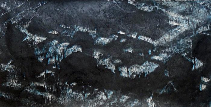 "Helen Cantrell-  ""Suburbia Night Grid"" (18"" x 36"") -  $700"