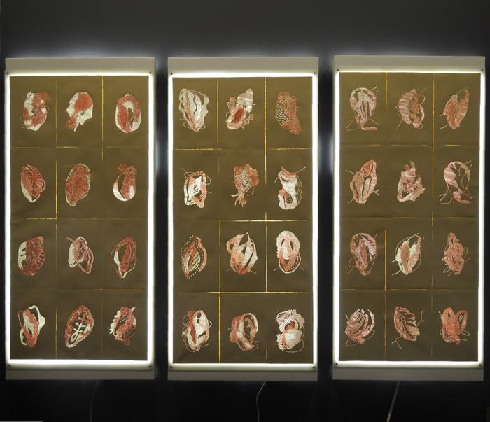 "Susan Hensel-  ""Organelles"" (50"" x 72"" x 4"") -  $4500 ( Triptych)"
