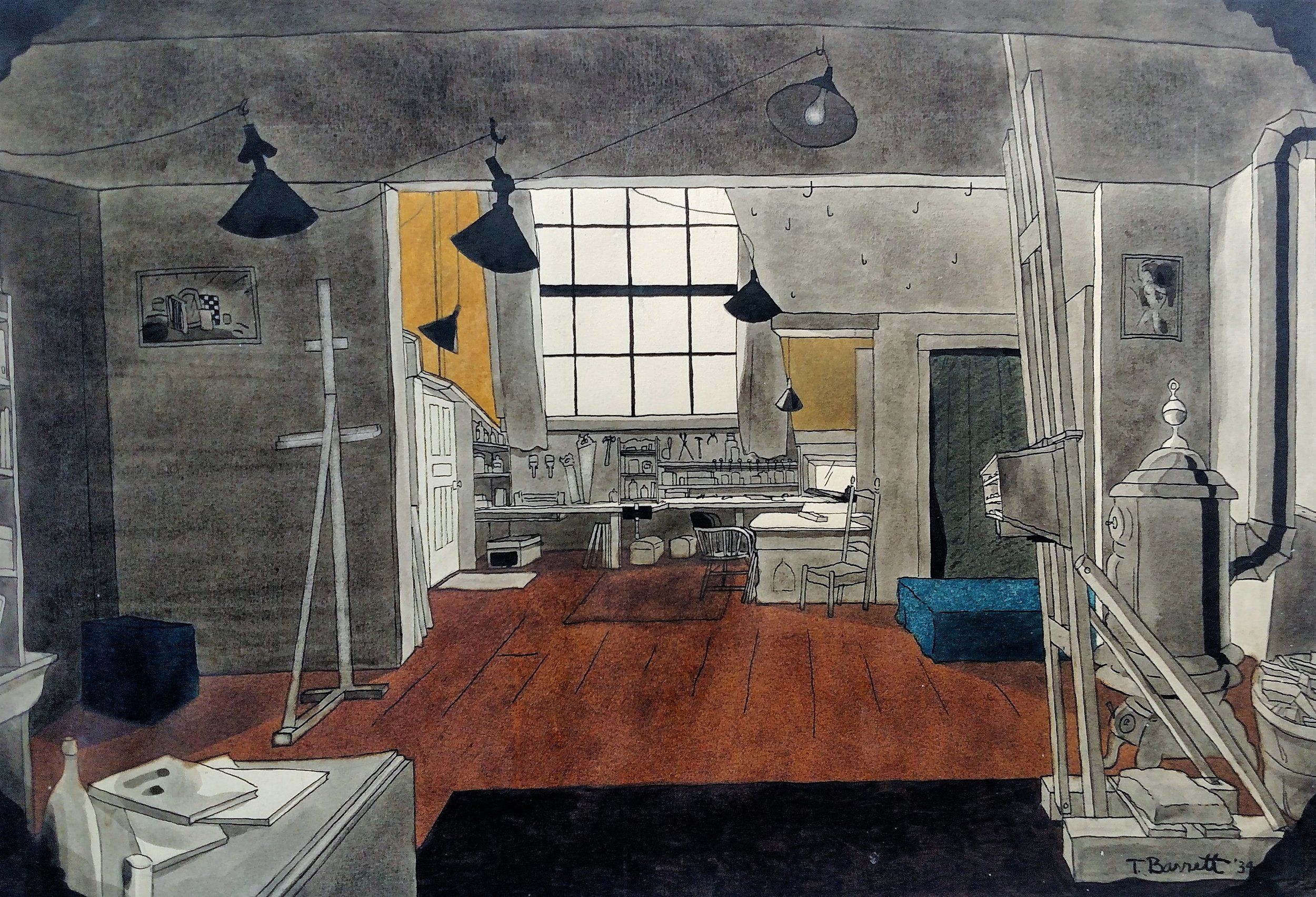 Thomas W. Barrett, Jr.'s water color of his studio in 1932, facing north.