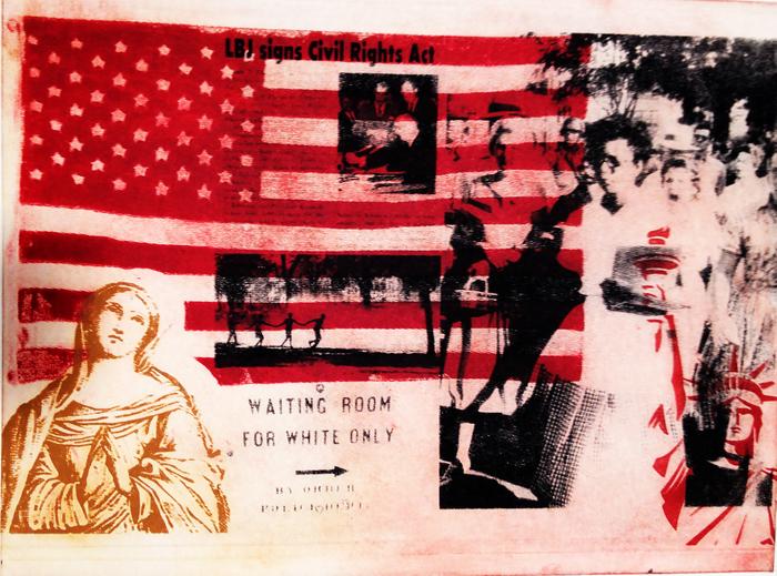 """Kathryn Cirincione  """"Waiting""""  (21.5"""" x 28.5"""") Three Color Solar Etching -  $1200"""