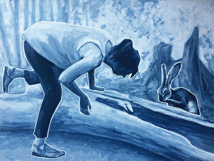 "Mack Gingles  ""Any Minute""  (14"" x 18"") Acrylic on Panel -  $2000"