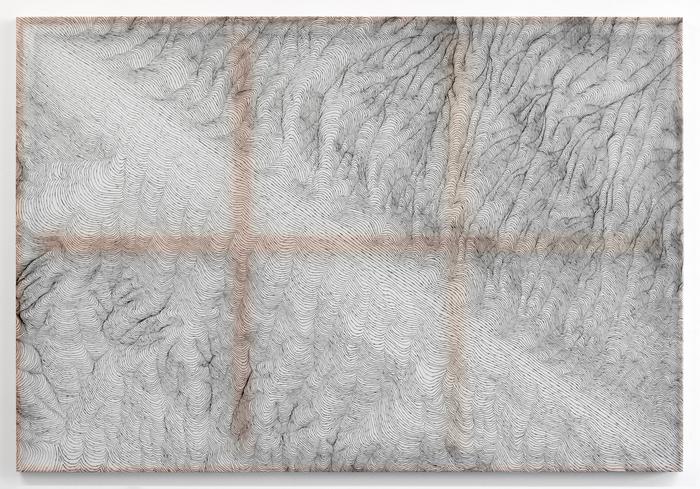 "Mark Kremer  ""Diagonal Line 3, Upper Left to Lower Right""  (72"" x 49"") Polyester Drafting Film, India Ink, Wood, Aluminum -  $2000"