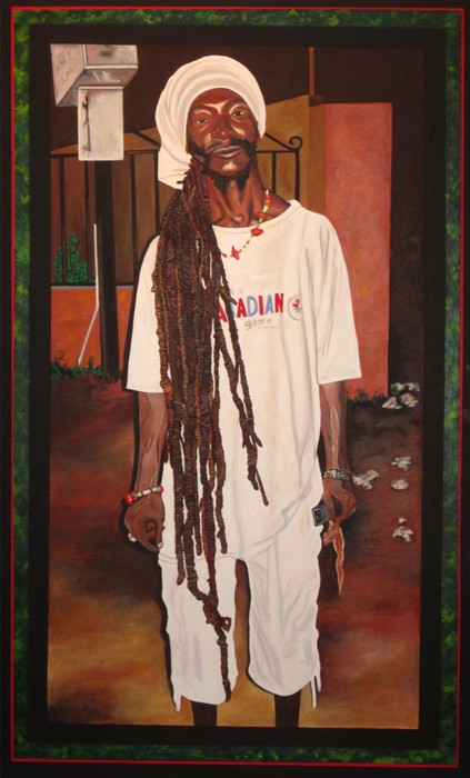 """Elise Pittelman  """"Rasta with Cell Phone and Chicken""""  (48"""" x 30)"""" Acrylic on Canvas-  $4000"""