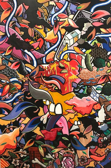 "Austin Romanaux  ""Untitled""  (72"" x 48"") Acrylic, Marker, Canvas -  $1800"