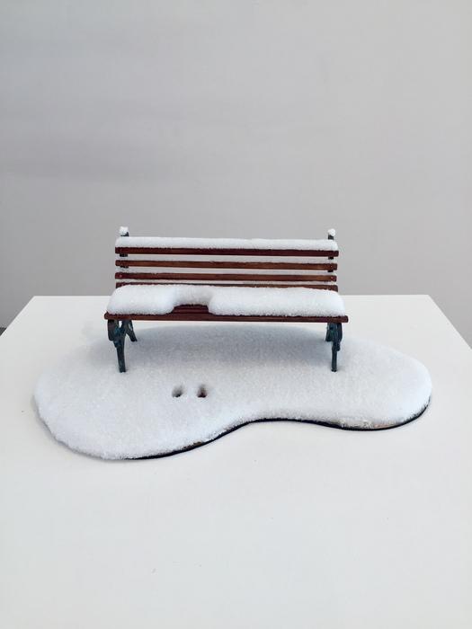 """Yu Shen  """"Waiting""""  (17"""" x 10.5""""x 6.1"""") Bronze, Wood, Foam-  NFS"""