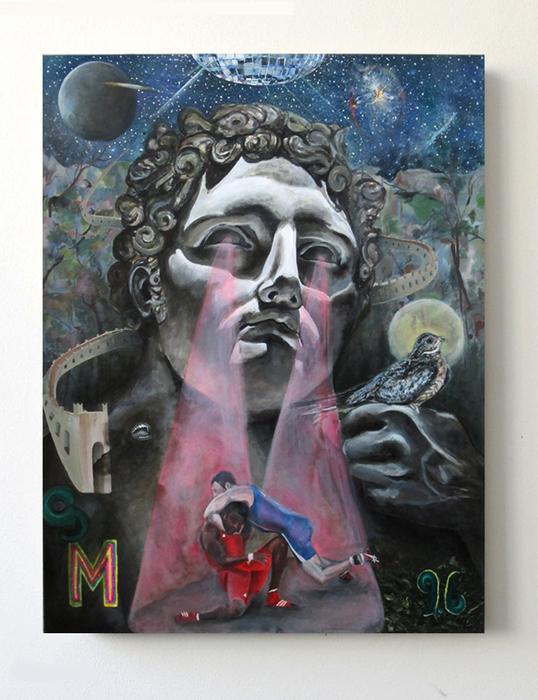 "Stephen Morris  ""Never Trust a History Buff""  (50"" x 38"") Oil on Canvas -  $8000"