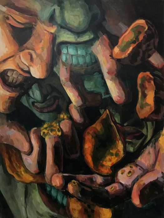 "Anthony DiBattista  ""Speculation""  (48"" x 36"") Acrylic on Canvas -  $650"