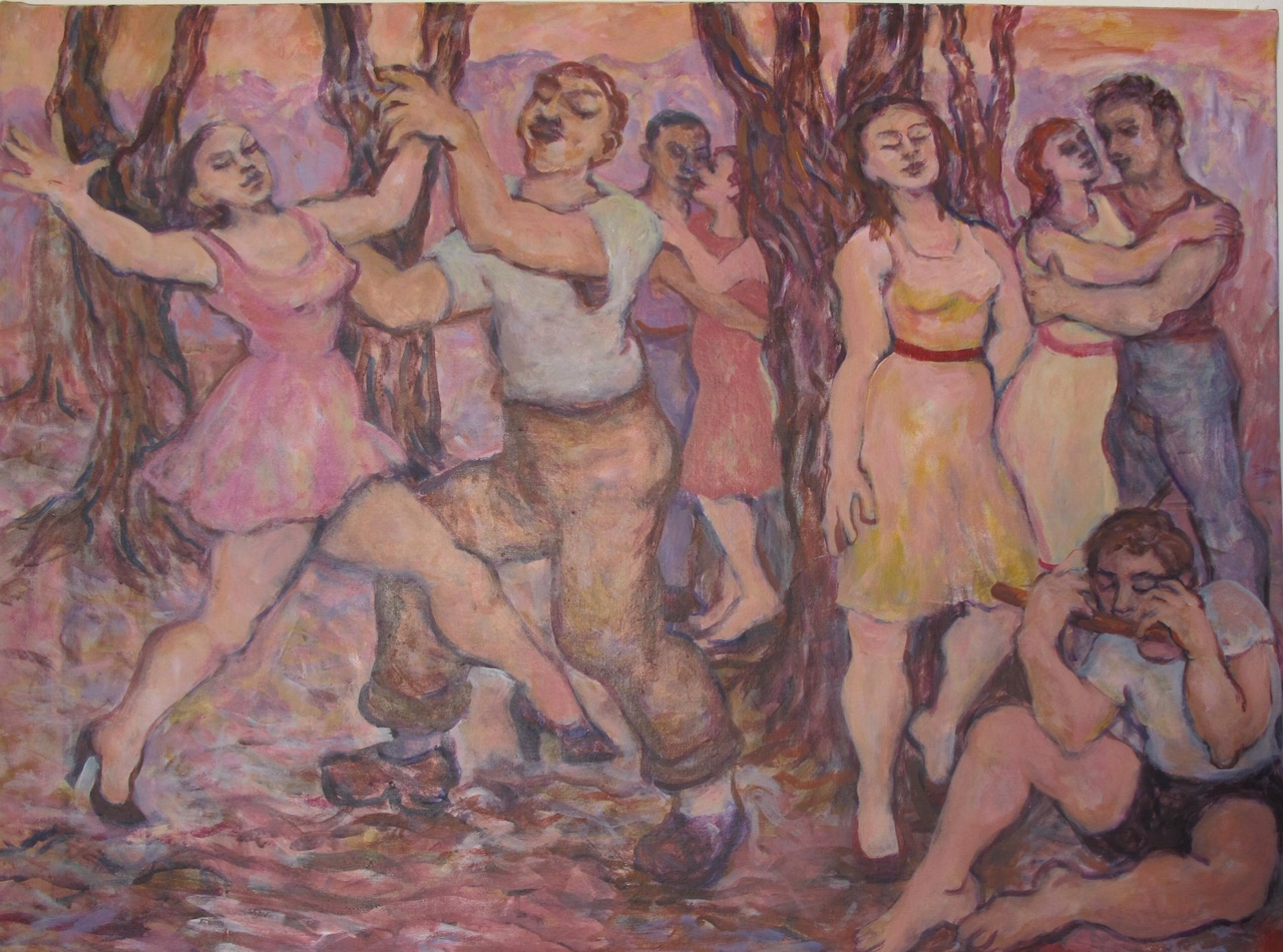 "Pam Krimsky   ""Lovers Dance""   (28 1/2"" X 38 1/2"")  $850"