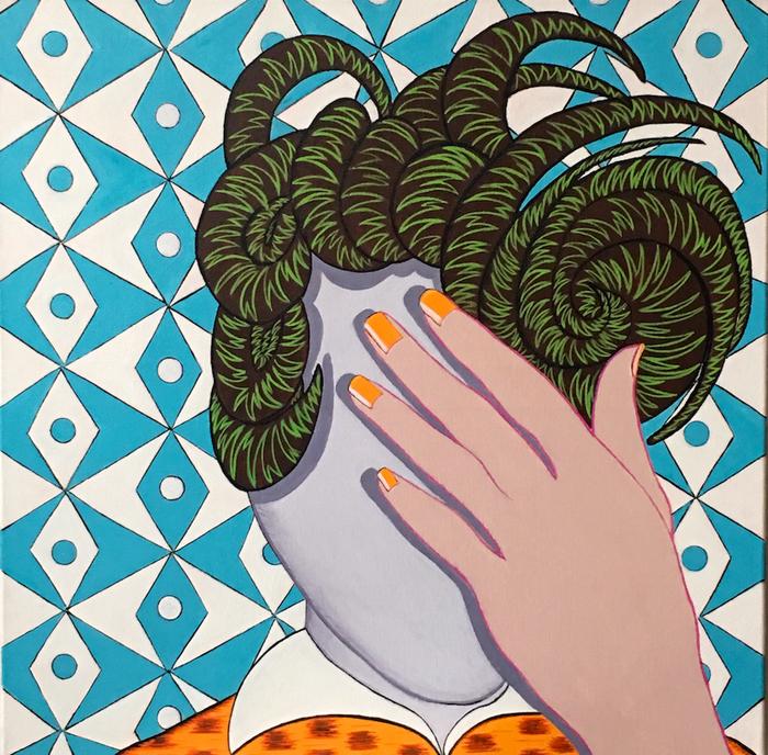"Deborah Druick -   Farouche     -   Acrylic on Canvas (24"" x 24"")  $2400"