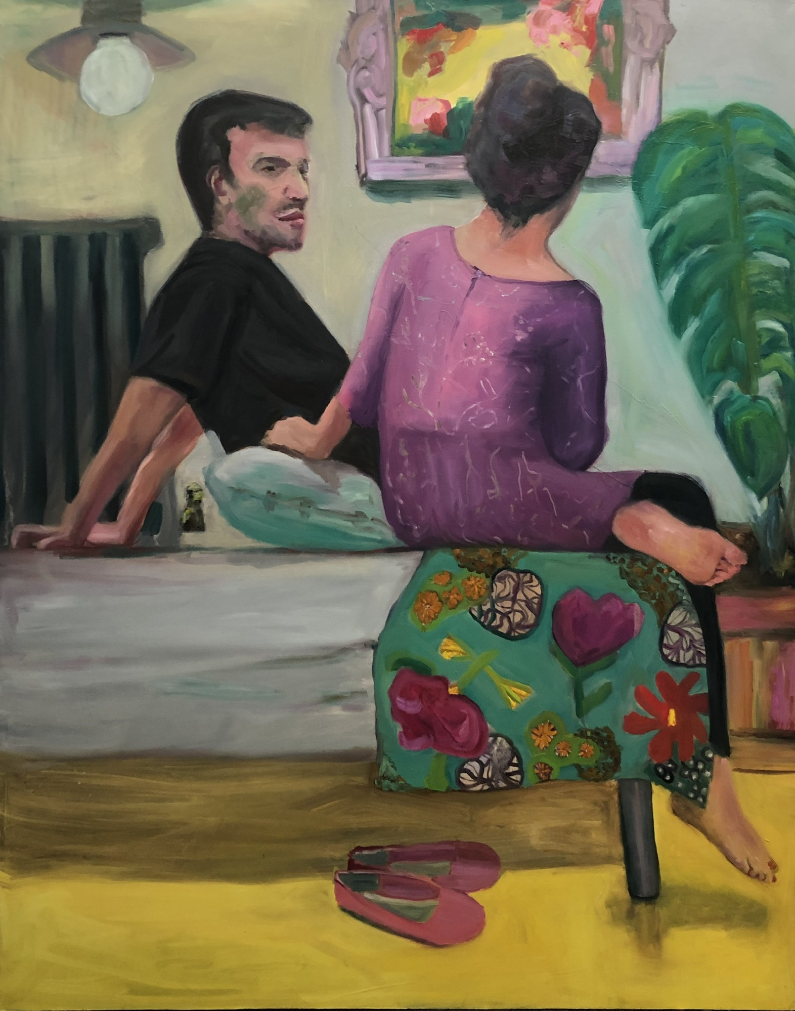 "Jessica Alazraki -   Couple-   Oil on Canvas (24"" x 36"")  $3500"