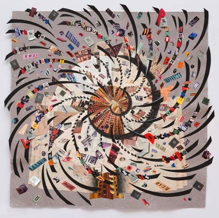 "Anne Bascove -   The Time We Spend with Words   - Dictionary Pages, Collage, Drawing, Metal Stencils, Microchips (40"" x 42"")  $13,500"