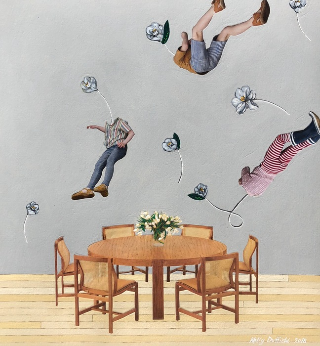 "Kelly Duffield -   Untitled XII, 2018   - (Figures over dining room table) Collage, gouache paint, colored pencil and string on paper (18"" x 17"")  NFS"