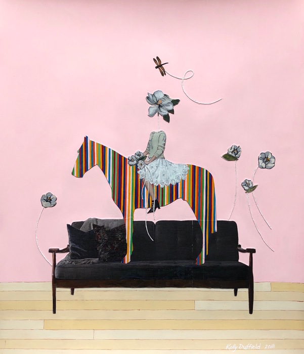 "Kelly Duffield -   Untitled III, 2018   - (Girl and horse on couch) Collage, gouache paint, colored pencil and string on paper (20"" x 18"")  NFS"