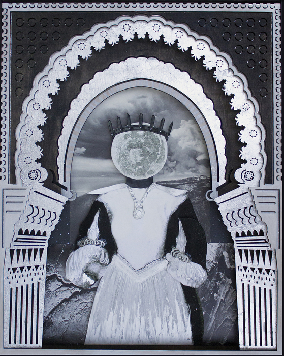 "Deming King Harriman -   Luna Queen   - Mixed Media: Silver Leaf Lasercut Wood, Collage (16"" x 20"")  $3000"