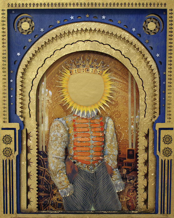 "Deming King Harriman -   Sol King   - Mixed Media: Gold Leaf Lasercut Wood, Collage (16"" x 20"")  $3000"