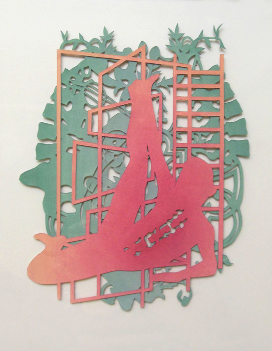 "Erin Juliana -   Encased   - gouache on cut paper (9"" x 11"")  $525"