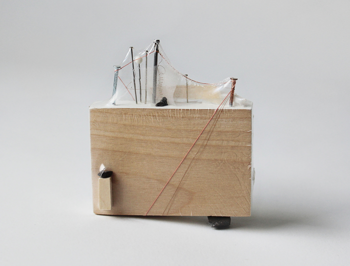 "Skye Livingston-   Insight Unseen   -wood, paint, silk, thread, hair, paper, gravel, shrink wrap (3.5"" x 3"")  $248"