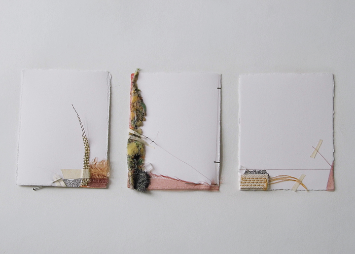 "Skye Livingston -   Landville Triptych  - mixed media collage on paper (8"" x 15"")  $235"