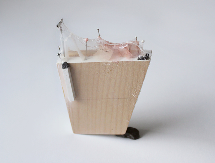 "Skye Livingston -   Notgoing Anywhere Anymore   - wood, paint, pins, nails, hair, thread, gravel, shrink wrap  (4"" x 4"" )  $248"