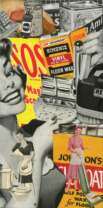 "Susan Abbott Martin -   Women's Work: Days of the Week: Wednesday: Cleaning   - Vintage magazines, Wood (8"" x 4"")  $1300"