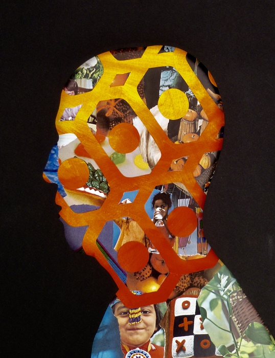 "James Marshall Porter, Jr. -   Self-portrait with Reverse Silhouette   - Collage (11"" x 14"")  $475"